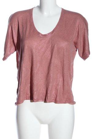 Mango Strickshirt pink Zopfmuster Casual-Look