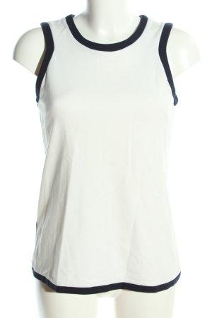 Mango Suit ärmellose Bluse weiß-schwarz Business-Look