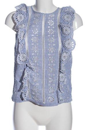 Mango Suit ärmellose Bluse blau-weiß Streifenmuster Casual-Look