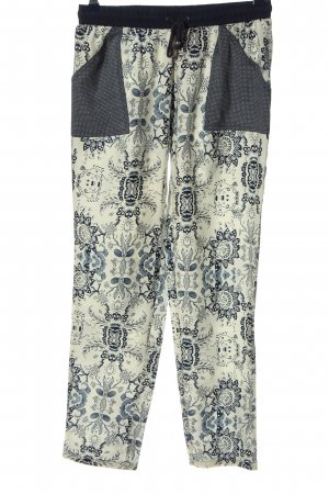 Mango Suit Baggy Pants wollweiß-hellgrau grafisches Muster Casual-Look