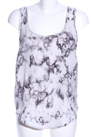 Mango Suit Blusentop weiß-schwarz abstraktes Muster Casual-Look