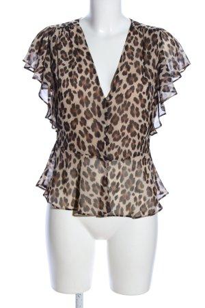 Mango Suit Blusentop braun-creme Animalmuster Elegant