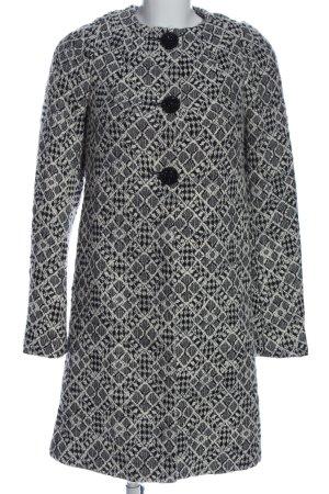 Mango Suit bodenlanger Mantel weiß-schwarz Allover-Druck Casual-Look
