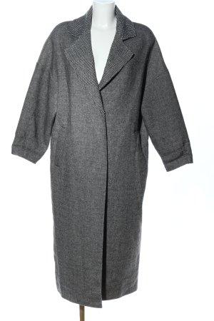 Mango Suit bodenlanger Mantel hellgrau meliert Business-Look