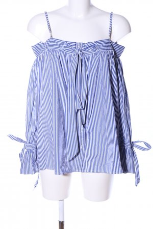 Mango Suit Carmen-Bluse blau-weiß Streifenmuster Casual-Look