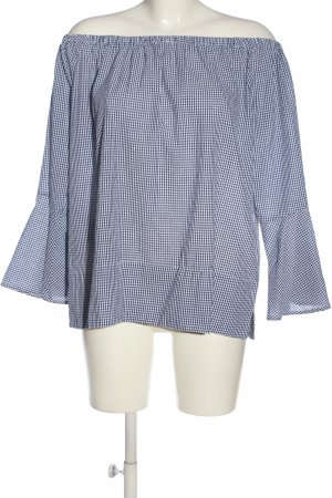 Mango Suit Carmen-Bluse schwarz-weiß Karomuster Casual-Look