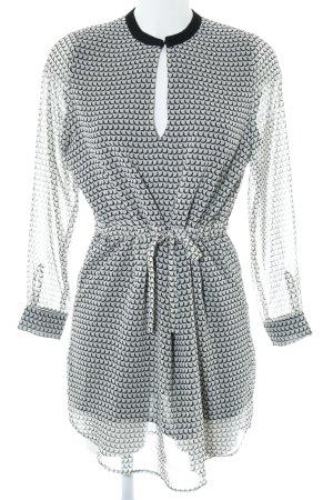 Mango Suit Chiffonkleid hellgelb-schwarz Allover-Druck Street-Fashion-Look