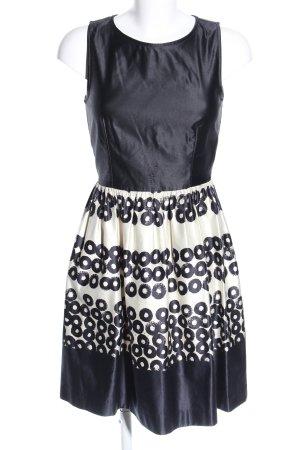 Mango Suit Cocktailkleid schwarz-wollweiß Allover-Druck Elegant