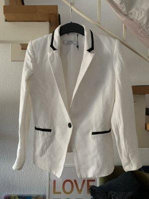 Mango Suit Collection Blazer Leinen Leinenblazer weiß mit schwarzen Details