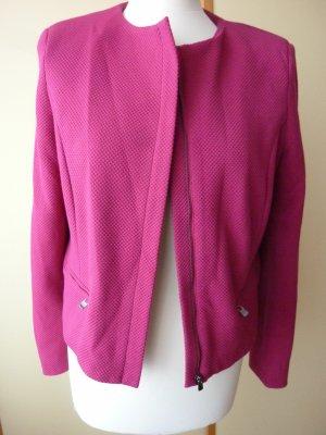 Mango Suit Collection Kurz - Blazer Kastenjacke 38 M pink cyclam himbeere melone kastig Bolero Business ungebügelt Strukturstoff