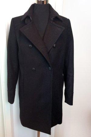 Mango Suit Abrigo de piloto negro tejido mezclado