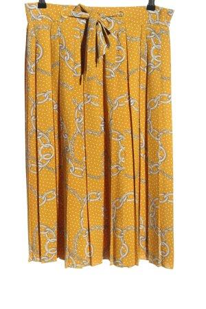Mango Suit Faltenrock hellorange-weiß Allover-Druck Casual-Look