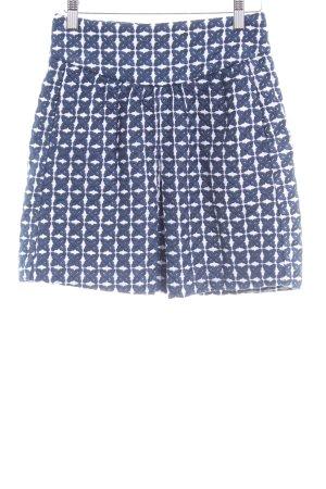 Mango Suit Faltenrock weiß-dunkelblau grafisches Muster Business-Look