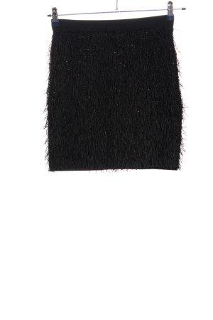 Mango Suit Spódnica z frędzlami czarny W stylu casual