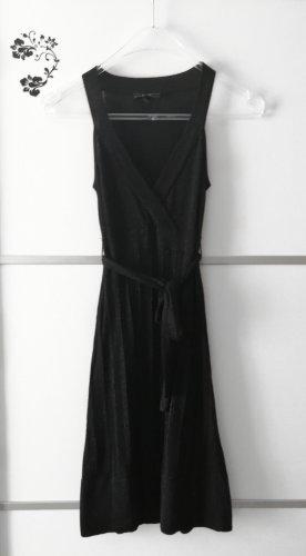 Mango Suit Glitzer Kleid Gerippt Schwarz Gr. XS