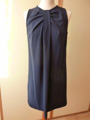 Mango Suit Gr. M 38 Kleid blau marine Hängerchen Umstandskleid ärmellos Zierfalten Rückenschlitz