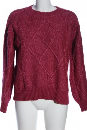 Mango Suit Grobstrickpullover rot-wollweiß meliert Casual-Look