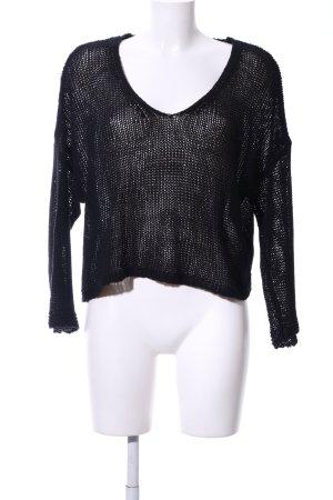 Mango Suit Grobstrickpullover schwarz Casual-Look