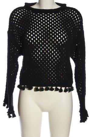 Mango Suit Gehaakte trui zwart casual uitstraling