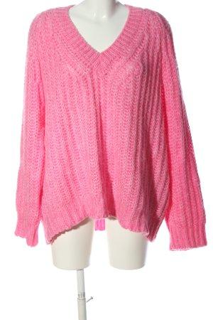 Mango Suit Gehaakte trui roze kabel steek casual uitstraling