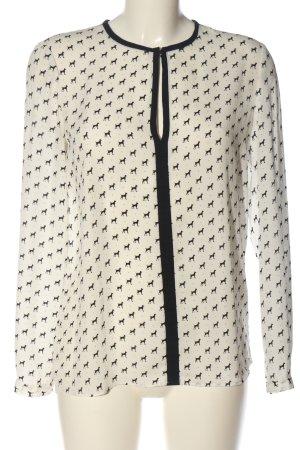 Mango Suit Hemd-Bluse creme-schwarz Allover-Druck Casual-Look