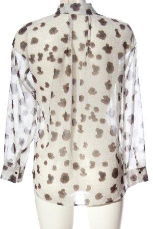 Mango Suit Hemd-Bluse creme-braun Allover-Druck Casual-Look