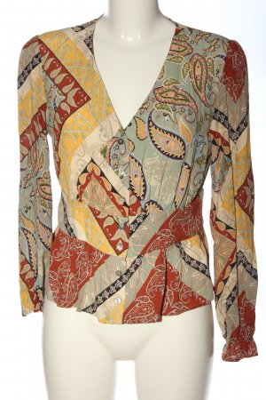Mango Suit Hemd-Bluse rot-blassgelb Allover-Druck Casual-Look