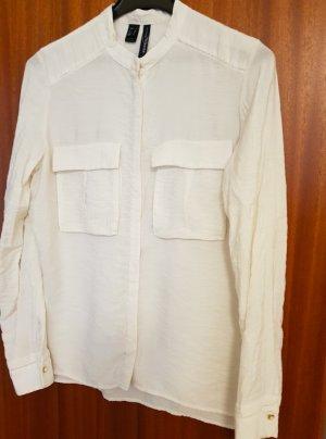 Mango Suit Blusa con collo alla coreana bianco-oro
