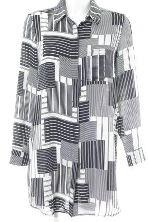 Mango Suit Hemdblusenkleid weiß-dunkelblau abstraktes Muster Elegant