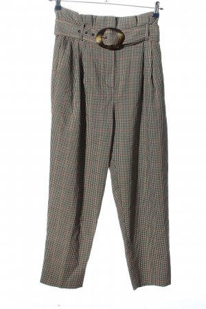 Mango Suit High-Waist Hose hellgrau-hellorange Karomuster Casual-Look