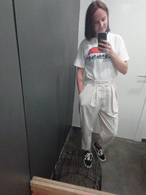 Mango Suit Pantalón de cintura alta beige claro
