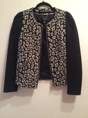 Mango Suit Jacke aus Baumwolle mit schwarz -grauem Leoprint, Gr. M