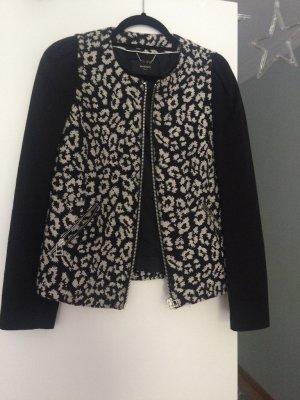 Mango Suit Jacke aus Baumwolle mit schwarz-grauem Leoprint, Gr. M