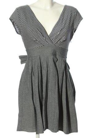 Mango Suit Kurzarmkleid hellgrau-schwarz Streifenmuster Casual-Look