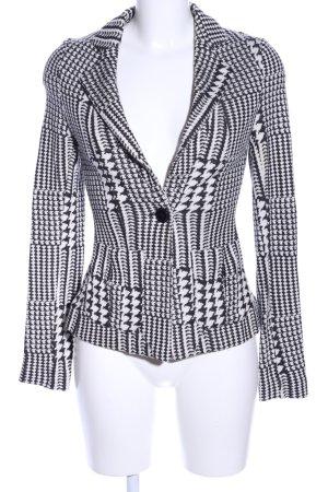 Mango Suit Jerseyblazer weiß-schwarz abstraktes Muster Business-Look