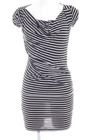 Mango Suit Jerseykleid schwarz-weiß Streifenmuster Casual-Look