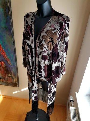 Mango-Suit Kimono Transparenz Ausbrenner Samt mit Fransen