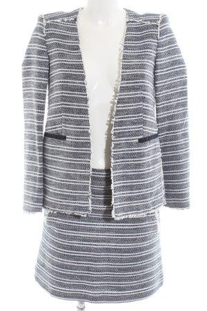Mango Suit Kostüm hellgrau-weiß Streifenmuster Business-Look