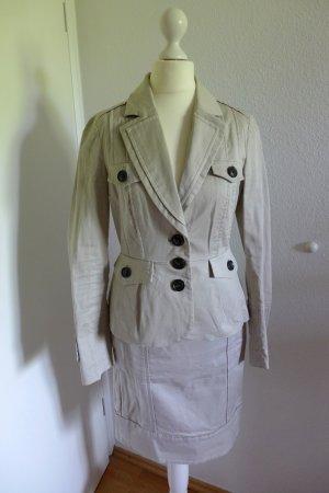 Mango Suit Kostüm Hosenanzug nude grau beige Rock Blazer Gr. 34/36 top