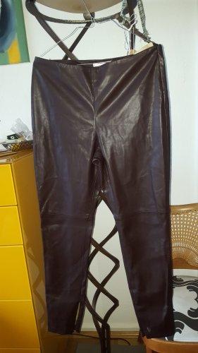 Mango Suit Leren broek donkerbruin Imitatie leer