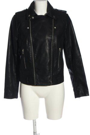 Mango Suit Kurtka z imitacji skóry czarny W stylu casual