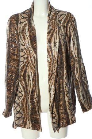 Mango Suit Long-Blazer wollweiß-braun Allover-Druck extravaganter Stil