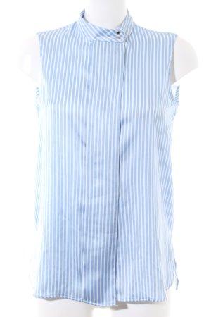 Mango Suit Kurzarm-Bluse blau-weiß Streifenmuster Business-Look