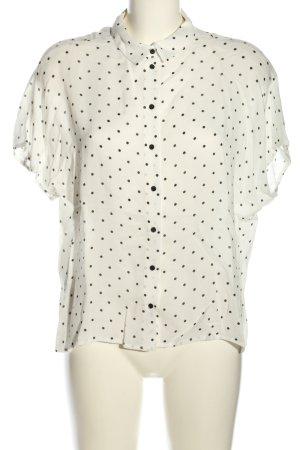 Mango Suit Kurzarm-Bluse weiß-schwarz Allover-Druck Business-Look
