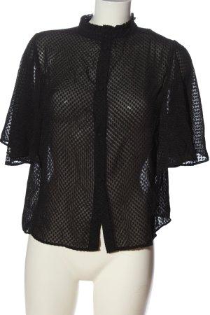 Mango Suit Kurzarm-Bluse schwarz Elegant