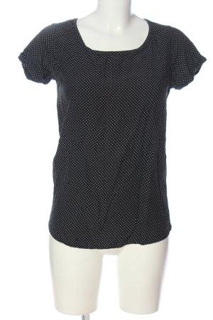 Mango Suit Kurzarm-Bluse schwarz-weiß Allover-Druck Casual-Look