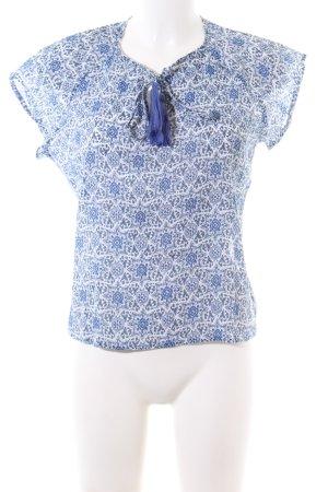 Mango Suit Kurzarm-Bluse blau-weiß Allover-Druck Business-Look