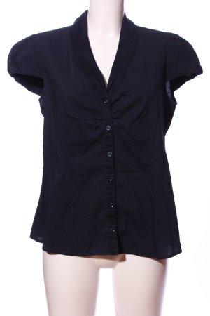 Mango Suit Kurzarm-Bluse blau Business-Look