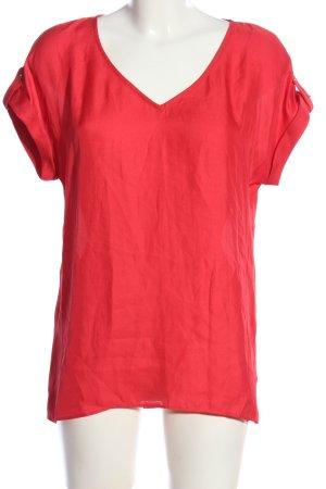 Mango Suit Kurzarm-Bluse rot Business-Look