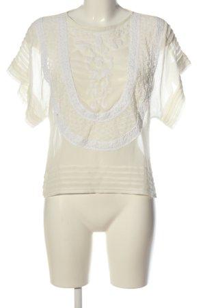 Mango Suit Kurzarm-Bluse creme-weiß Elegant